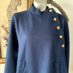 Vintage Wool Cape with Gold Buttons and Pockets